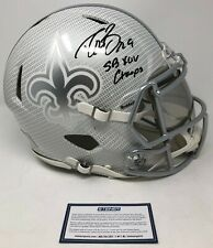"""DREW BREES Autographed """"SB XLV Champs"""" Hydro Dipped Riddell Speed Helmet STEINER"""