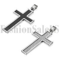 Mens Boys Black Silver Tone Carbon Fiber Stainless Steel Cross Necklace Pendant