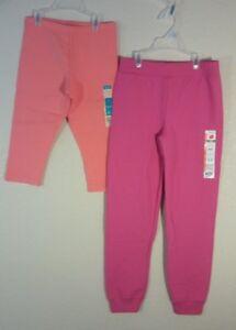 2 Pair of NEW Kids Girls M Medium 7/8 - Coral capri leggings & Pink Sweatpants