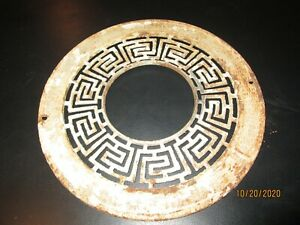 Antique Large Stove Pipe Collar Cast Iron Geometric Design