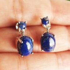 Natural LAPIS LAZULI Gemstone Earrings, 925 Sterling Silver Drop Earrings
