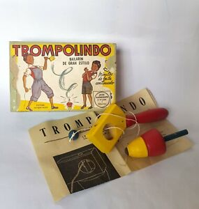 """Very Rare Vintage 1930-40 """"TROMPO LINDO"""" Wooden Spinning Top with Box ARGENTINA"""