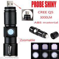 Zoomable ABS 3000LM Mini CREE Q5 LED USB Rechargeable Battery Flashlight Torch