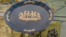 WEDGWOOD Trinket dish Blue Jasperware Cherubs Sleeping Dog Oval EXCELLENT