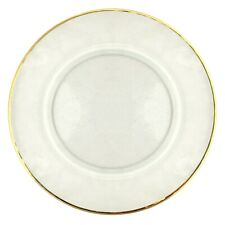 Set/12 GILT 24K Gold Rim Hammered Glass Charger Plates