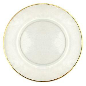 Set/12 GILT 24K Gold Rim Hammered Glass Charger Plates