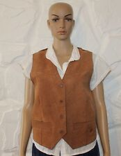 Beige Suede & Other MILLER CO. Button Fitted Riding Western Waistcoat Size L