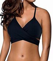 Designer Brand Womens Swimwear Black Medium M Floral Wrap Bikini Set $40 028