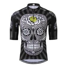 Rose Skull Cycling Jersey Short Sleeve Bicycle Clothes MTB Jersey Sportswear