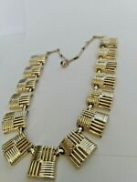 """VINTAGE CORO GEOMETRIC GOLD TONE LINK CHAIN NECKLACE COLLAR 16"""" - Gorgeous"""