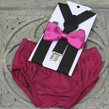 1st Birthday boy cake smash diaper cover bow tie Suspenders plum,black US