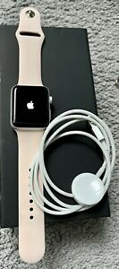 Silver & Pink apple watch series 3 42mm gps wist spare strap