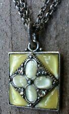 Double Chain Pendant Necklace 4 Rhinestones & 8 Glass Gems BEAUTIFUL!!!