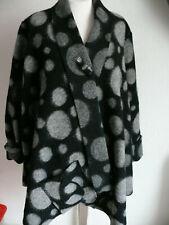 Maria Dahlhoff Lagenlook Jacke mit Schal, Gr. 3 = 48/50 grau/schwarz Schurwolle