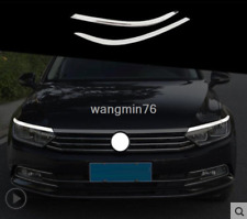 Chrome Front Headlamps Light Brow Trim 2PCS For Volkswagen Passat B8 2017-2018