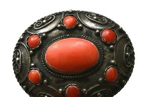Old Continental Filigree 800 Silver Coral Carved Cabochon Bead Pin Brooch Mk