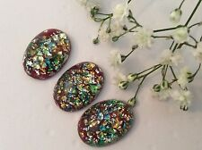 Red Flash Fire Opal cab Flatback Oval Japan GLASS 18x13mm Pk 3 CRAFT Post Free