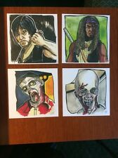 """The Walking Dead Sketch Card Print Set #25 4 Different Mike Doherty 5"""" X 5"""""""
