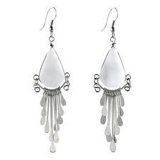 #4103 Peruvian Calcite White Stone Earrings Drop Dangle Artisan Fair Trade Peru