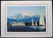 16 Ferry Sailboats Mt Baker San Juan Islands Fine Art Note Card Marshall Johnson