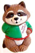 1991 Hallmark NEW Christmas TEACHER RACCOON Merry Miniature ~Never Used~ QFM1807