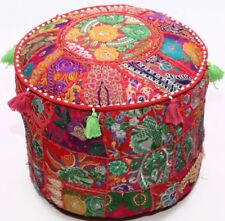 "18"" Indian Culture Kachchi Embroidered Ottoman Pouf Stool Chair Cover Red"