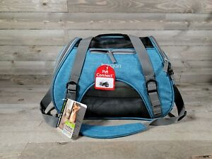 Bergan Dog Cat Pet Airline Comfort Carrier Tote with Fleece Bed Small Blue
