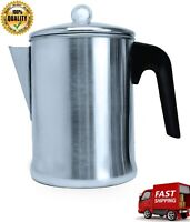 Stove top Percolator Coffee Pot Brewing Stainless Steel Metal Filter Lid 9 Cup
