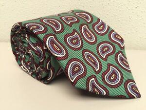 "Polo Ralph Lauren Neck Tie Green Maroon Blue Paisley 100% Silk 3.5""W x 56""L"