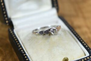 Vintage Sterling Silver Cubic Zirconia Solitaire Ring with Hearts Size K 925
