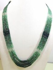 Natural 5 Line Shaded Emerald Bead Strand Cut High Quality