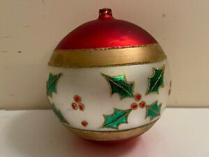 """5.5"""" JUMBO EXTRA LARGE GLITTERY RED HOLLY BERRIES CHRISTMAS ORNAMENT"""