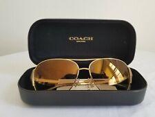New Authentic Coach HC7067 (L1590) 92876E Gold/Milky Olive Sunglasses 59mm Case