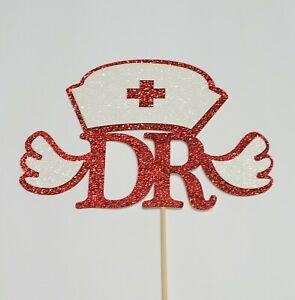 Dr of Nursing Cake Topper Graduation for Doctorate of Nursing red/white Glitter