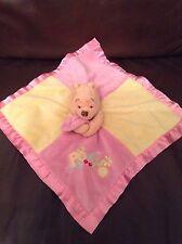 Winnie The Pooh Disney Pink Yellow Baby Doudou Comforter Comfort Blanket Blankie