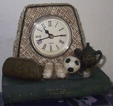 Vintage Clock Set in Football Goal with Boots Ball Cup Whistle & Kitbag on Book