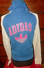 Adidas multicolor Full Zip Hoodie Sweater size Small Blue Pink Light Gray White