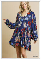 NWT Umgee CHIC BoHo Peasant Hippie Baby Doll Balloon Sleeve Tunic Dress Small