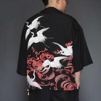 Men Open Front Casual Kimono Cardigan Jacket Top Shirt Japanese Coat YHU01