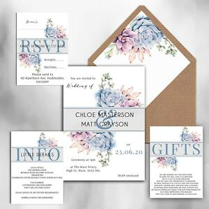 WEDDING INVITATIONS Personalised Succulent blue & pink floral packs of 10