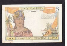 French Indochina 5 Piastres 1946 P-55C  F+