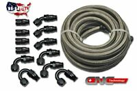10AN -10AN Stainless Steel PTFE Fuel Line 30FT Black 12 Fittings Hose Kit E85