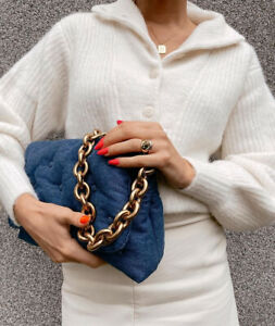 Zara Denim Blue Quilted Shoulder Bag With Gold Chain