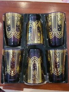 Moroccan Tea Cups purple gold new set 6