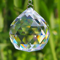 One Hanging 90g 40mm CRYSTAL BALL Sphere Prism Faceted Sun Catcher Clear C1U2