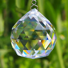 One Hanging 90g 40mm CRYSTAL BALL Sphere Prism Faceted Sun Catcher Clear ooll*`