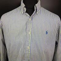 Ralph Lauren Mens Shirt 16 32/33 (LARGE) Long Sleeve Custom Fit Striped Cotton