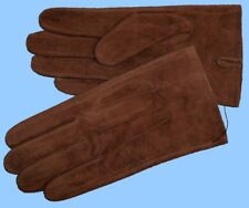 NEW MENS size 8.5 or Medium BROWN SUEDE COW LEATHER UNLINED GLOVES shade 10505