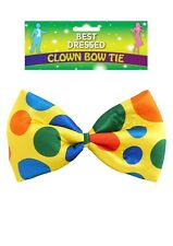 MASSIVE CLOWN BOW TIE FANCY DRESS POLKA DOT MULTICOLOUR NEW FREE DELIVERY