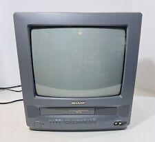 "Vintage 1999 Sharp 13"" TV VCR Combo CRT Retro Gaming 13VT-L100 Black 592080"